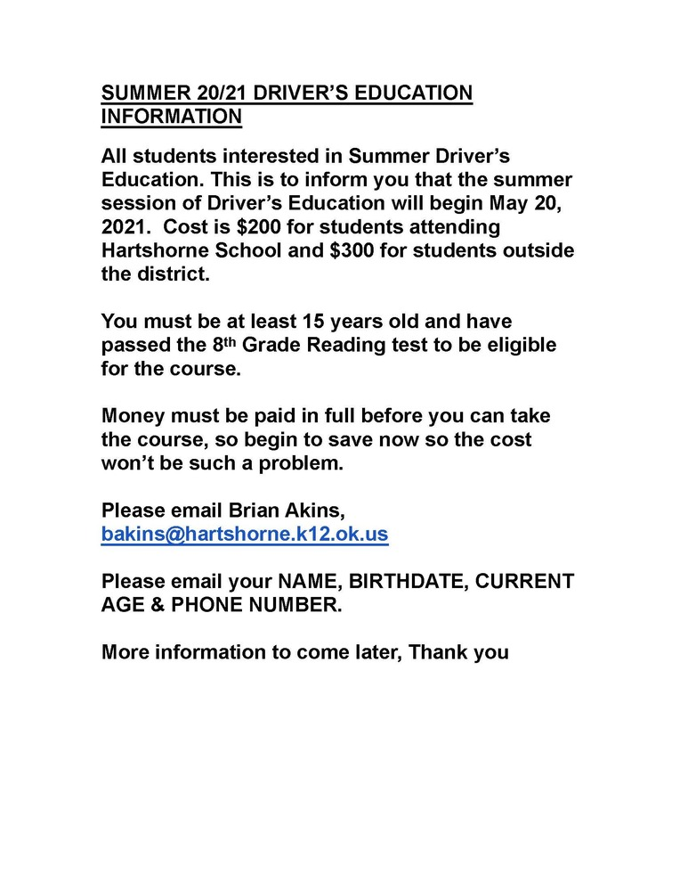 SUMMER '21 DRIVER'S EDUCATION INFORMATION