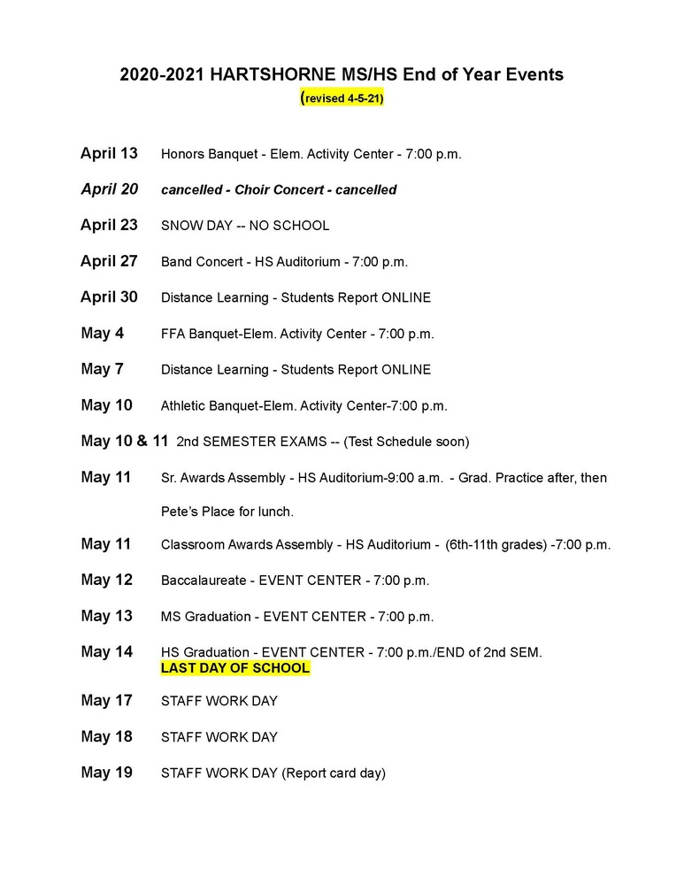 2020-2021 MS/HS EVENTS SCHEDULE
